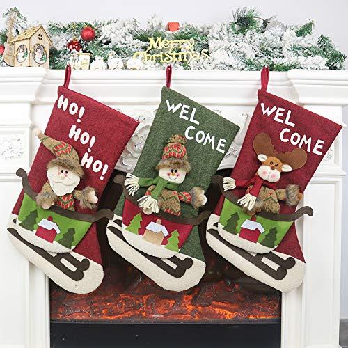 Calcetín de navidad 3 pcs,Medias de regalo de saco de Navidad para la decoración del árbol ,Adorno de Navidad...