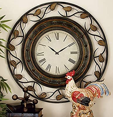 """Deco 79 57720 Metal Wall Clock To Track The Time, 36"""", Tarnished Bronze Finish"""