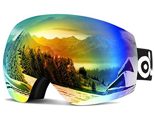 Odoland Skibrille, Große Sphärische Rahmenlose Snowboard Brille - Schibrille Verspiegelt für Herren und Damen - Doppel-Objektiv OTG Snowboardbrille, UV-Schutz Anti-Nebel und helmkompatibel