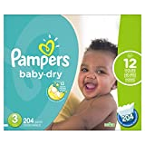 Pampers Baby-Dry Disposable Diapers Size 3, 204 Count, ECONOMY PACK...