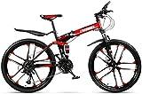 Ligero, Adulto bicicleta de montaña, doble suspensión plegable Ciudad de bicicletas, bicis de doble freno de disco de nieve, 26 pulgadas de aleación de magnesio Diez cuchillos Ruedas Liquidación de in