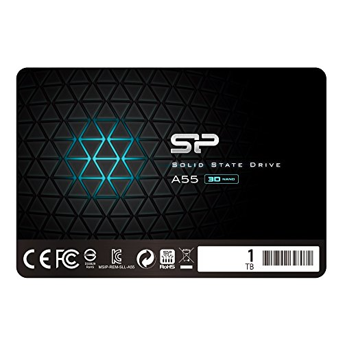 Silicon Power 1 TB SSD NAND 3D-A55 SLC Cache Performance Boost SATA III interne Solid State Drive – Schwarz