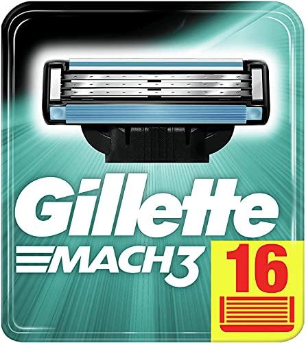 Gillette Mach3 Cuchillas de Afeitar Hombre, Paquete de 16 Cuchillas de Recambio