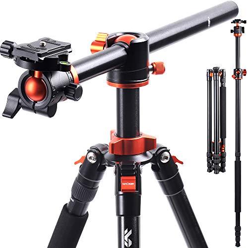 K&F Concept 238CM Stativ, SA254T1 Kamerastativ mit verlängerten 90 Grad Mittelsäulen, 360° Panorama Fotostativ mit Tragtasche und Schnellwechselpatte für DSRL Sony Canon Nikon Digitalkamera