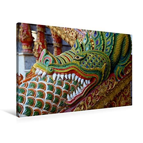 Calvendo Premium Textil-Leinwand 90 cm x 60 cm quer, Thailand, Drache vor dem Tempel | Wandbild, Bild auf Keilrahmen, Fertigbild auf echter Leinwand. in Chiang Mai, Thailand Orte Orte
