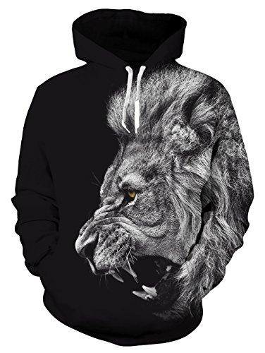 Idgreatim Uomo Donne Personalizzata Grafico 3D Impronta Animale Felpe con Cappuccio Inverno Casuale Fleece Pullover L