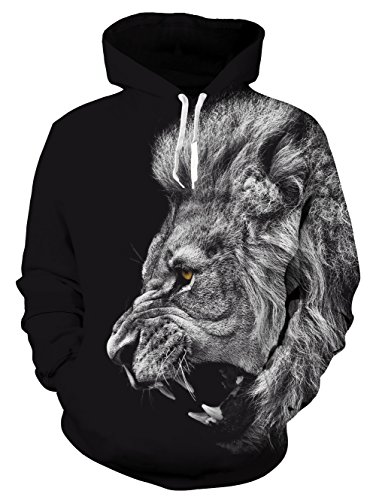 Idgreatim Juniors Cool 3D Print Hoodies Top Inverno Casuale Vello Pullover Giacca S