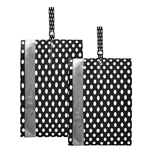 Mnsruu Bolsas para zapatos de viaje de lunares blancos y negros (2 piezas, tamaño estándar: 23 x 38 cm, tamaño XL: 23 x 43 cm)