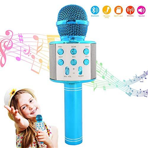 Karaoke-Mikrofon, Bluetooth, kabellos, KTV-Mikrofon für Kinder, P Karaoke-Maschine, drahtloses Mikrofon, Handheld Karaoke-Mikrofon, kompatibel mit Android & iOS Handy oder TV – WS858 Blau