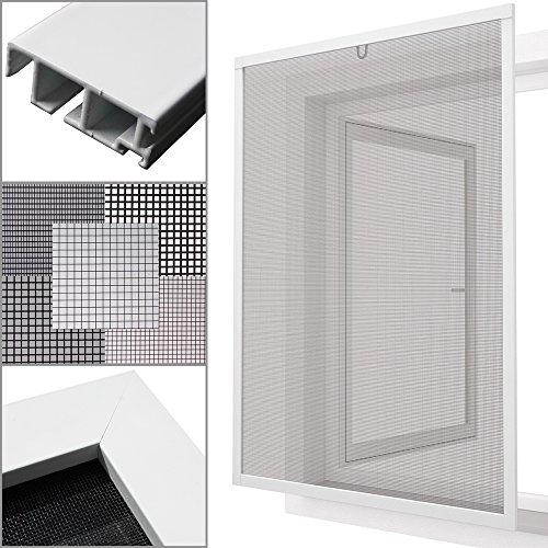 proheim Insektenschutz Fenster nach Maß in Weiß Fliegengitter mit Alurahmen für Fenster Insektenschutzfenster Maßanfertigung fertig verpresst & montiert, Breite in mm:1000, Höhe in mm:1000, Gewebeart:Durchsichtgewebe