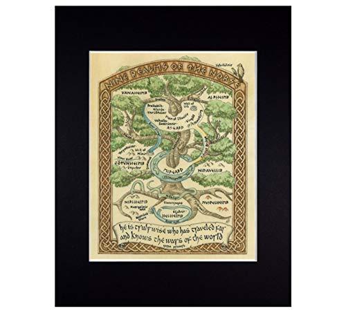 Norse Mythology World Map Fine Art Print Reproduction