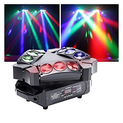 U'King Mini 9 Head Bird Disco-lamp, 60 W, RGB-LED-roterende licht met rood LED-effect en DMX-geluid en actief geluid voor disco club bar-party-bands