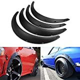 SIZZLEAUTO 4PCS Universal Fender Flare Wide Body Kit 910mm 820mm Flexible Durable Wheel Eyebrow Extension Extra Wide Wheel Arch Black Polyurethane