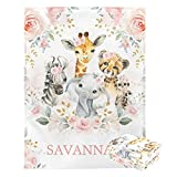 Custom Baby Blanket with Name Personalized Elephant Baby Blankets for Girls Baby Boy Gifts Baby Products Super Soft Blankets for Newborns Nursery Decor Neutral