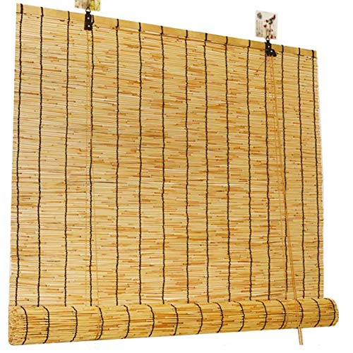 HJRD Natural Reed Curtain,Bamboo Roller Blinds Roman Blinds Louver Window Hand-Woven Sun Shade,Breathable/Anti-Uv,for Garden/Balcony/Window(40x60cm/16x24in)