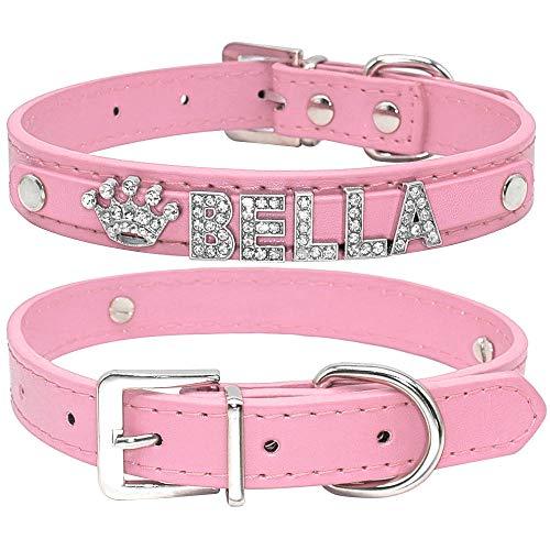 Gulunmun Collar de Gato Personalizado Cachorro de Diamantes de imitación Collares de Perros pequeños Personalizado para Chihuahua Nombre de Yorkshire Encantos Accesorios para Gatos-Rosa Liso XS