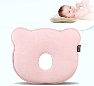 Goolsky Newborn Head Shaping Pillow Baby Pillow Prevent Infant Flat Head Memory Foam for Age 0-1 Pink