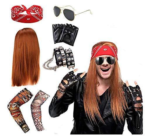 VSTON Punk Gtico Rocker Kit, Rocker Costume Punk Gtico Kit 70s 80s 90s con peluca, gafas de sol, bandanas, pulsera de cuero, mangas de tatuaje falsas, guantes