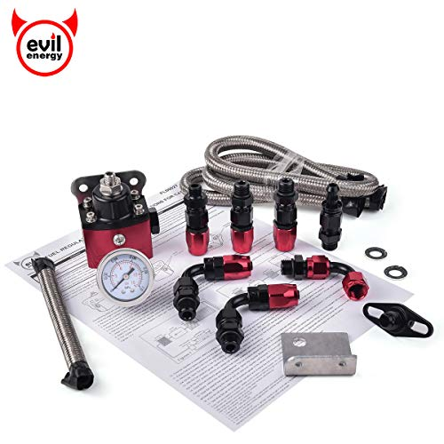 EVIL ENERGY 0-15psi Adjustable Carburetor Fuel Pressure Regulator Bypass Return Kit Universal with Pressure Gauge and 6AN ORB Adapter Aluminium Black&Red