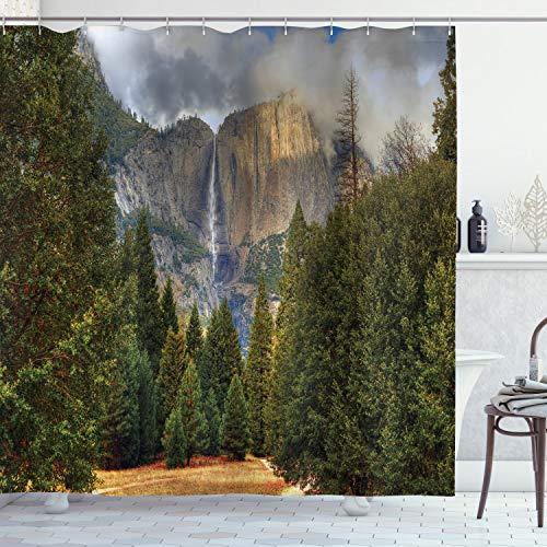 ABAKUHAUS Yosemite Douchegordijn, Yosemite Park Autumn, stoffen badkamerdecoratieset met haakjes, 175 x 220 cm, Groen grijs