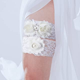 GENBREE Lace Bride Wedding Garters White Pearl Garter Belt Floral Bridal Garters Stretch Wedding Accessories for Women and...