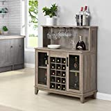 Bar Cabinet with Wine Rack and Glass Doors (Grey Wash)