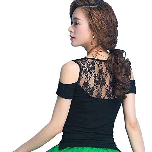 [L-night](エル‐ナイト)レディース ダンス用シャツ レース シンプル トップス 短袖ダンスTシャツ フラダンス 社交ダンス ラテンダンス フラメンコ衣装 ダンスウェア 練習着 モダン 競技用 ベリーダンス ブラウス(XL)