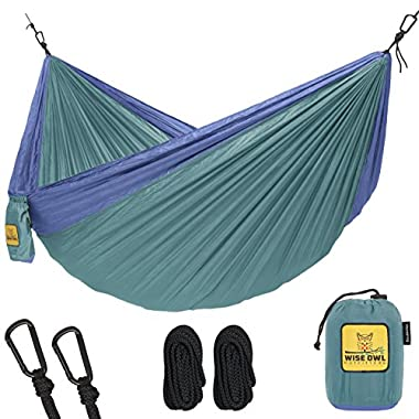Wise Owl Outfitters Hammock for Camping - Single & Double Hammocks Gear For The Outdoors Backpacking Survival or Travel - Portable Lightweight Parachute Nylon DO Green & Blue