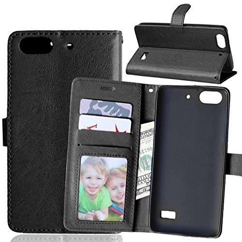 YYhin Case per Cover Huawei G Play Mini/Honor 4C(5.0') - Custodia Protettiva in Pelle Morbida di Alta qualità per Portafoglio con Custodia Chiusura Magnetica Slot per schede(DK01/nero)