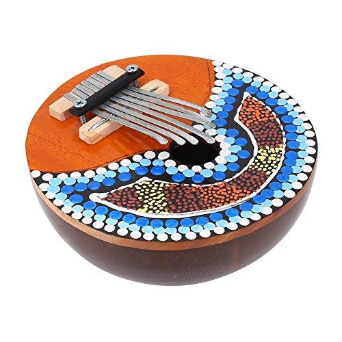 Caoba africana Mbira, cáscara de coco sintonizable de 7 teclas Mbira Instrumento musical portátil con dedo pulgar Piano Instrumento musical portátil Regalos para niños Principiantes adultos