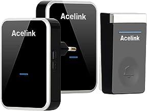 Acelink Timbre Inalámbrico sin Pilas, Timbres Inalámbricos Exterior Impermeable, 200M de Alcance, 4 Niveles de Volumen 45 ...