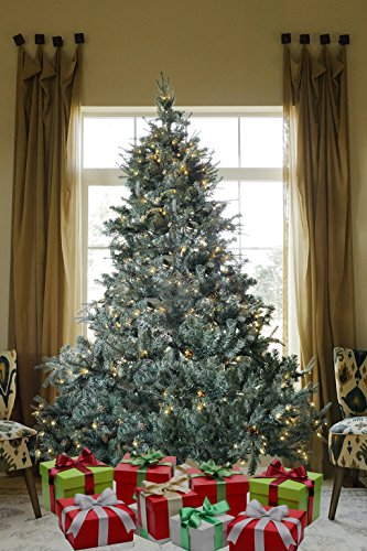 8 FT Prelit Premium Spruce Hinged Artificial Christmas Tree 1600 Realistic Branch Tips/Pines with 600 LED Lights and Stand