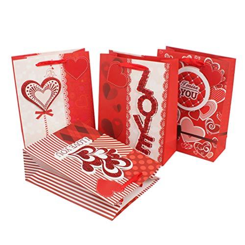 Amosfun 4 stks hart liefde papieren zakken praktische handheld opbergzak winkelen handtas geschenktas voor Valentijnsdag bruiloft