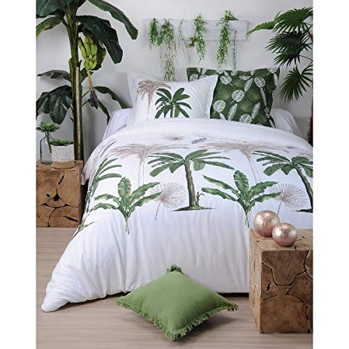 Housse de Couette Mayotte, Nature, Blanc/Vert, 240x260cm, 2 Personnes, 100% Coton
