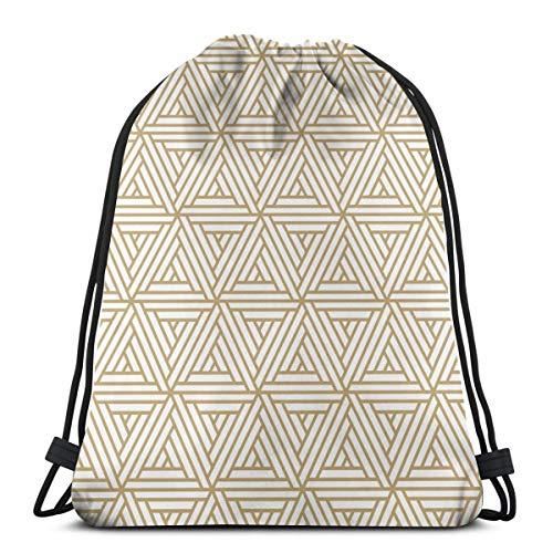 Nonebrand Bolsa de viaje con cordón para hombre y mujer, diseño geométrico sin costuras, bolsa de almacenamiento portátil para camping, senderismo, natación, compras, playa, viajes