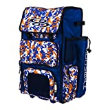 Boombah Rolling Superpack Baseball / Softball Gear Bag - 23-1/2' x 13-1/2' x 9-1/2' - Camo Royal Blue/Orange - Telescopic Handle and Holds 4 Bats - Wheeled Version