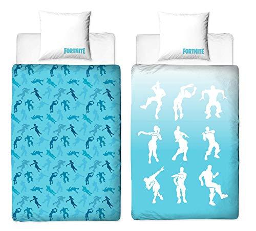 Juego de cama Fortnite 135 x 200 cm + 80 x 80 cm, 2 piezas, ropa de cama para adolescentes y jóvenes, Fortnite Shuffle Sieger-Tänze Battle Royale, 100% algodón