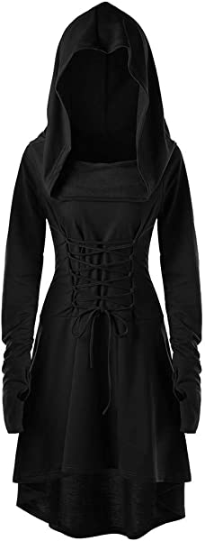 Women Hooded Sweatshirt Dress Long Sleeve Bandage Medieval Vintage Lace Up High Low Cloak Robe