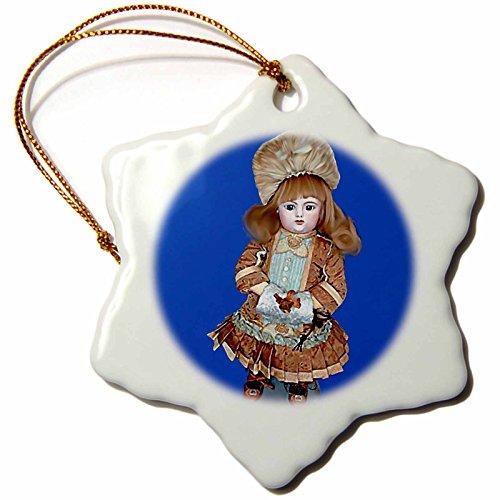 3dRose ORN_750_1 Bru Antike Puppe, Schneeflocken-Ornament, 7,6 cm, Mehrfarbig