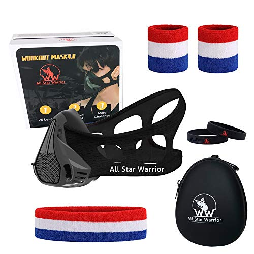40 All Star Warrior Premium Quality Workout Masks for Men Women – Elevation Sports Mask for Training – Running Breathing Mask with 25 Breathing Resistance Levels