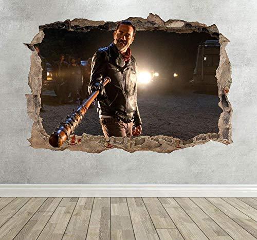BAOWANG Wandsticker 3D Negan The Walking Dead Smashed Breakout Wandaufkleber Junge Mädchen Schlafzimmer Lucille - Extra große Landschaft 100 cm (B) x 70 cm (H)