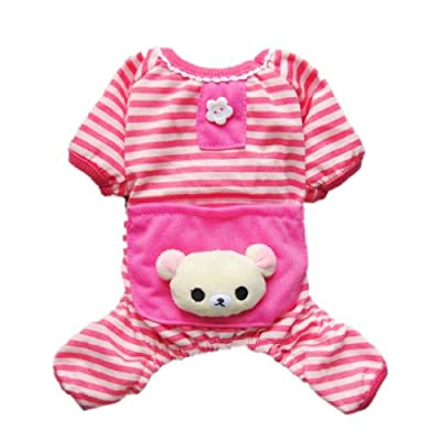Petparty® Cute Bear Comfy Dog Pajams Dog Shirt Stripes Dog Jumpsuit Pet Dog Clothes