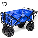 Collapsible Folding Wagon Beach Cart with Big Wheels for Beach,...