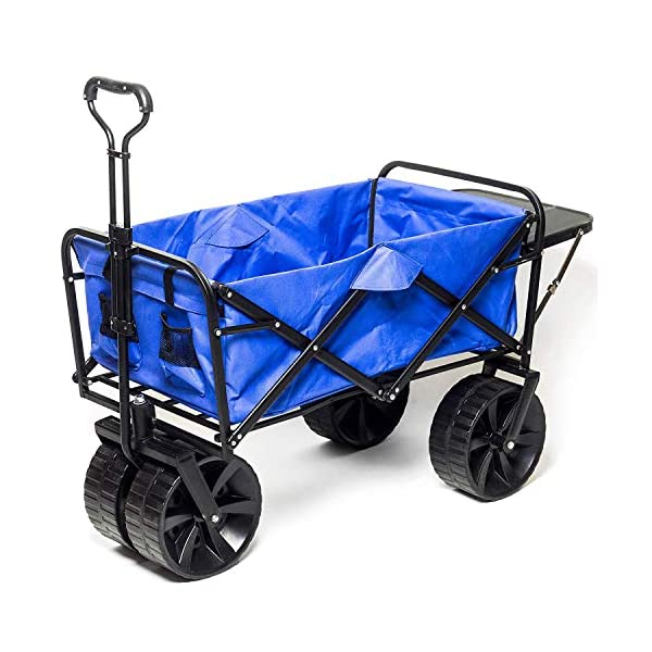Collapsible Folding Wagon Beach Cart with Big Wheels for Beach, Outdoor Camping, Sports, Garden, Sand and Utility with Side Table, All-Terrain Heavy Duty Foldable Push and Pull Wagon