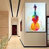 NR Abstrakte Moderne Wandmalerei mit Darstellung der Geige Gemälde Auf Leinwand Wanddekoration (60x90cm Rahmenlos)