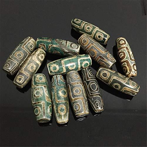EKimmer 40Mm Vintage Piedra Verde tibetana Dzi ágatas Cuentas de Piedra ovaladas geométricas de Nueve Ojos Cuentas de ágatas Antiguas Approx 40mm