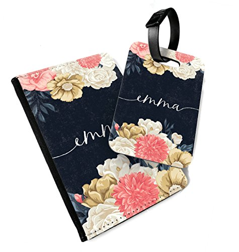 WTF   Flowers Personalised Navy   Printed Art Faux Leather Passport Cover and Luggage Tag Combo