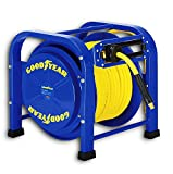 GOODYEAR Air-Hose-Reel Retractable 3/8' Inch x 100 Feet 300 Psi / 20 Bar Spring Driven Steel Elite Portable Quad Pod Heavy Duty Industrial Longest Premium Commercial Flex Hybrid Polymer