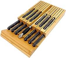 in-Drawer Bamboo Knife Block Holds for 16 Knives(Not Included) and Knife Sharpener, Knife Organizer Drawer Insert for...