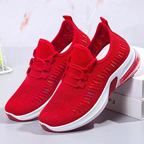 Aerlan Running Shoes with Air Padding,Al Aire Libre del Amortiguador de Aire del Zapato de Las Mujeres, Zapatos Deportivos Casuales para Correr-Red_36,Zapatos Deportivos para Correr